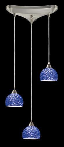 ELK Lighting 10143-3Pb Cira Three Light Pendant In Satin Nickel And Pebbled Blue Glass from ELK Lighting
