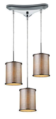 ELK Lighting 20042-3 Fabrique Three Light Drum Pendant In Polished Chrome And Tan Stripe Shade from ELK Lighting