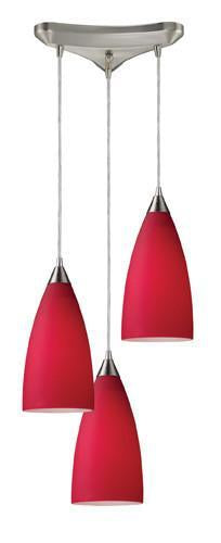 ELK Lighting 2583-3 Vesta Three Light Pendant In Cardinal Red In Satin Nickel from ELK Lighting