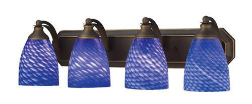 ELK Lighting 570-4B-S Four Light Vanity In Aged Bronze And Sapphire Glass from ELK Lighting