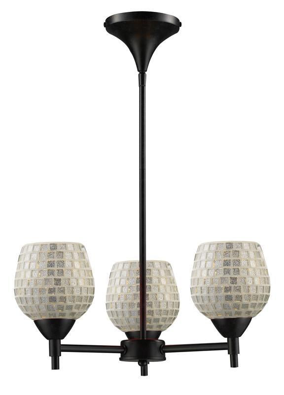 ELK Lighting Celina Celina 3-Light Chandelier In Dark Rust And Silver Glass - 10154/3DR-SLV from ELK Lighting