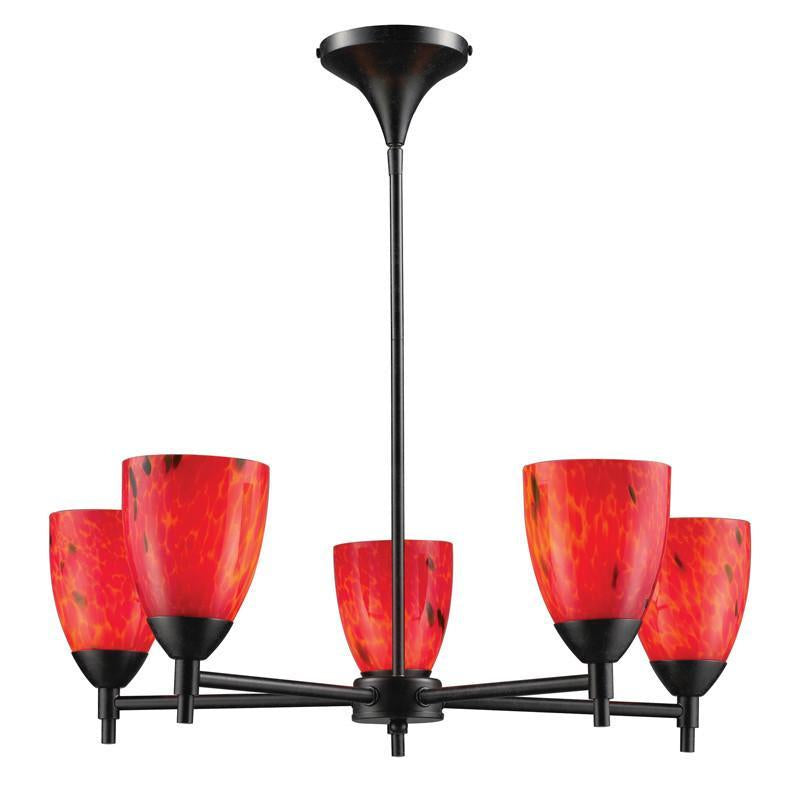 ELK Lighting Celina Celina 5-Light Chandelier In Dark Rust And Fire Red Glass  - 10155/5DR-FR from ELK Lighting
