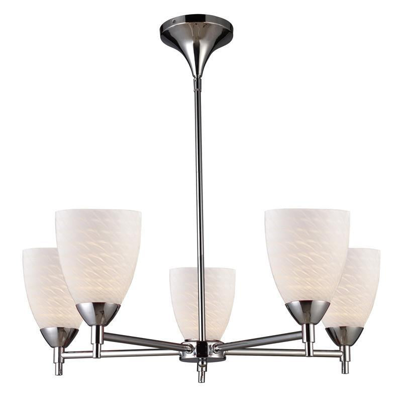 ELK Lighting Celina Celina 5-Light Chandelier In Polished Chrome And White Swirl Glass - 10155/5PC-WS from ELK Lighting
