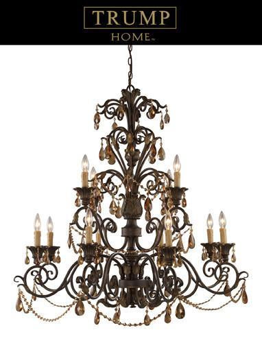 ELK Lighting Lighting 3345-8 4 Twelve Light Chandelier With Amber Crystal from ELK Lighting