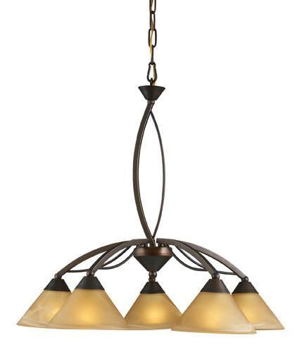 ELK Lighting Lighting 7646-5 Five Light Chandelier In Aged Bronze And Tea Swirl Glass from ELK Lighting