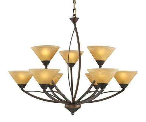 ELK Lighting Lighting 7648-6 3 Nine Light Chandelier In Aged Bronze And Tea Swirl Glass from ELK Lighting