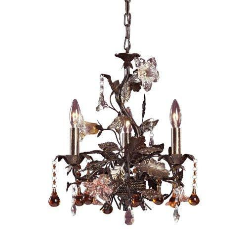 ELK Lighting Lighting 85001 Three Light Chandelier In Deep Rust And Hand Blown Florets from ELK Lighting