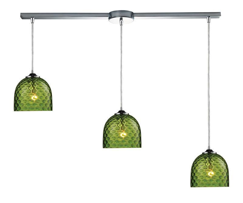 ELK Lighting Viva Viva 3-Light Green Pendant In Polished Chrome - 31080/3L-GRN from ELK Lighting