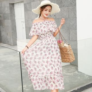 Maternity Floral Print Off-Shoulder Midi Dress from EZ Life