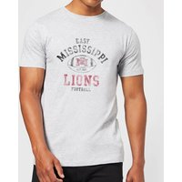 East Mississippi Community College Lions Distressed Football Men's T-Shirt - Grey - L - Grey from East Mississippi Community College