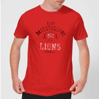 East Mississippi Community College Lions Football Distressed Men's T-Shirt - Red - S - Red from East Mississippi Community College