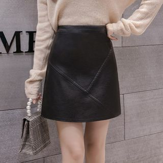 Faux Leather A-Line Mini Skirt from Eferu