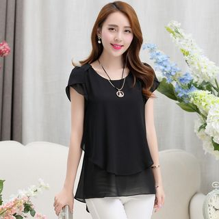 Plain Short-Sleeve Chiffon Blouse from Einshine