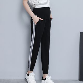 Maternity Cropped Contrast-Trim Sweatpants from Empressa