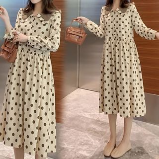 Maternity Dotted Long-Sleeve Midi Collared Dress from Empressa