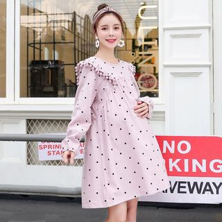 Maternity Long-Sleeve Dotted Frilled Babydoll Dress from Empressa