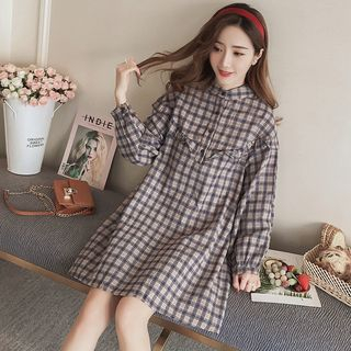 Maternity Plaid Long-Sleeve A-Line Dress from Empressa