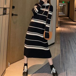 Maternity Striped Hooded Long-Sleeve Midi Knit Dress from Empressa