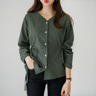V-Neck Tie-Waist Blouse from Envy Look