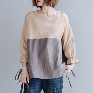 3/4-Sleeve Paneled Top Khaki - One Size from Epoch