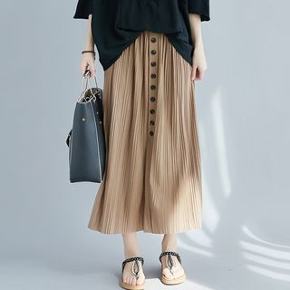 Buttoned Accordion Pleat Midi Skirt from Epoch