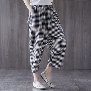 Cropped Plaid Harem Pants from Epoch