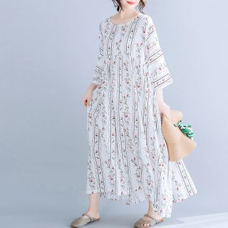 Floral 3/4-Sleeve Midi Dress from Epoch