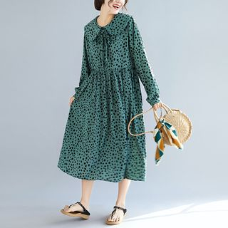 Long-Sleeve Dotted Midi A-Line Dress from Epoch