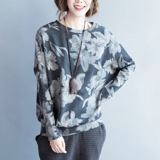 Long-Sleeve Floral Print T-Shirt Gray - One Size from Epoch