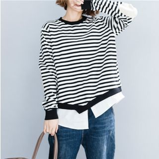 Mock Two-Piece Long-Sleeve Striped Top As Shown In Figure - One Size from Epoch