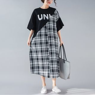 Mock Two-Piece Short-Sleeve Plaid Midi Dress As Shown In Figure - One Size from Epoch