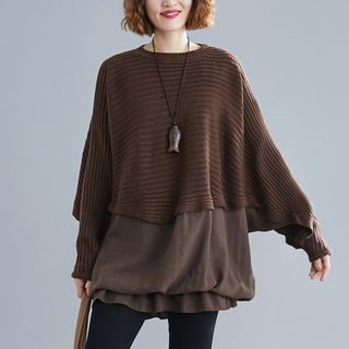 Mock Two-Piece Sweater Coffee - One Size from Epoch