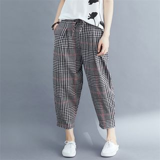 Plaid Cropped Harem Pants from Epoch