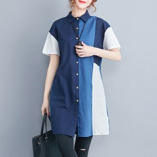 Short-Sleeve Color Block Long Shirt from Epoch