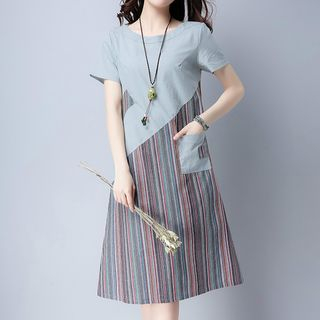 Short-Sleeve Striped Panel Dress from Epoch