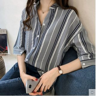Striped Elbow-Sleeve Shirt from Epoch
