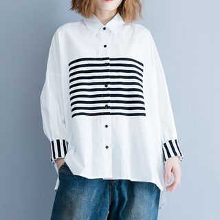 Striped Panel Shirt White - One Size from Epoch