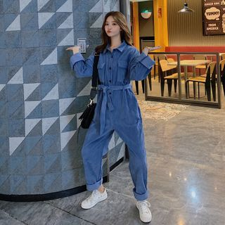 Corduroy Long-Sleeve Jumpsuit from Estacion