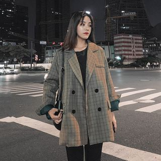 Double-Breasted Plaid Blazer from Estacion