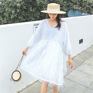 Fringed V-neck Dress from Estacion