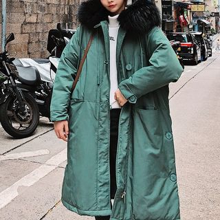 Furry-Trim Hooded Padded Coat from Estacion
