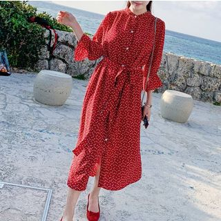 Heart Print 3/4-Sleeve Midi A-Line Dress from Estacion