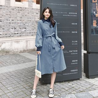 Long-Sleeve Sashed Shirt Dress from Estacion