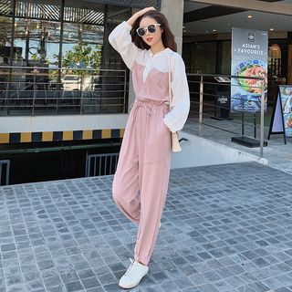 Long-Sleeve Two-Tone Jumpsuit from Estacion