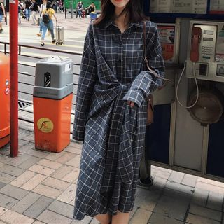Plaid Tie Waist Shirtdress from Estacion