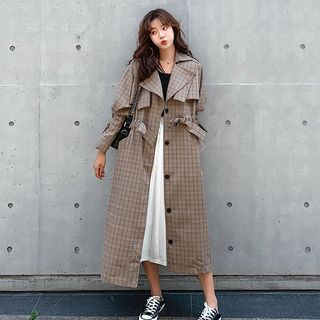 Plaid Trench Coat from Estacion