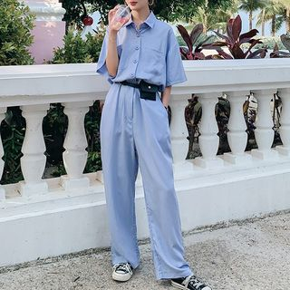 Short-Sleeve Shirt Jumpsuit from Estacion