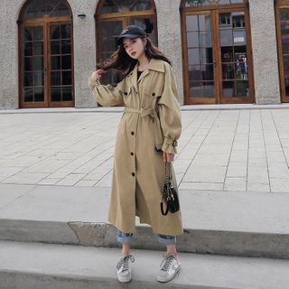 Single-Breasted Midi Trench Coat from Estacion