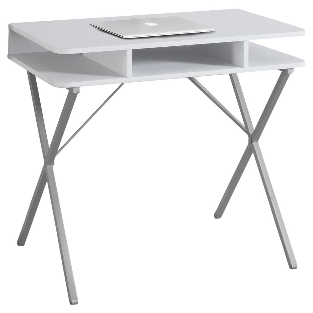 White Top Computer Desk - Silver Metal - EveryRoom from EveryRoom