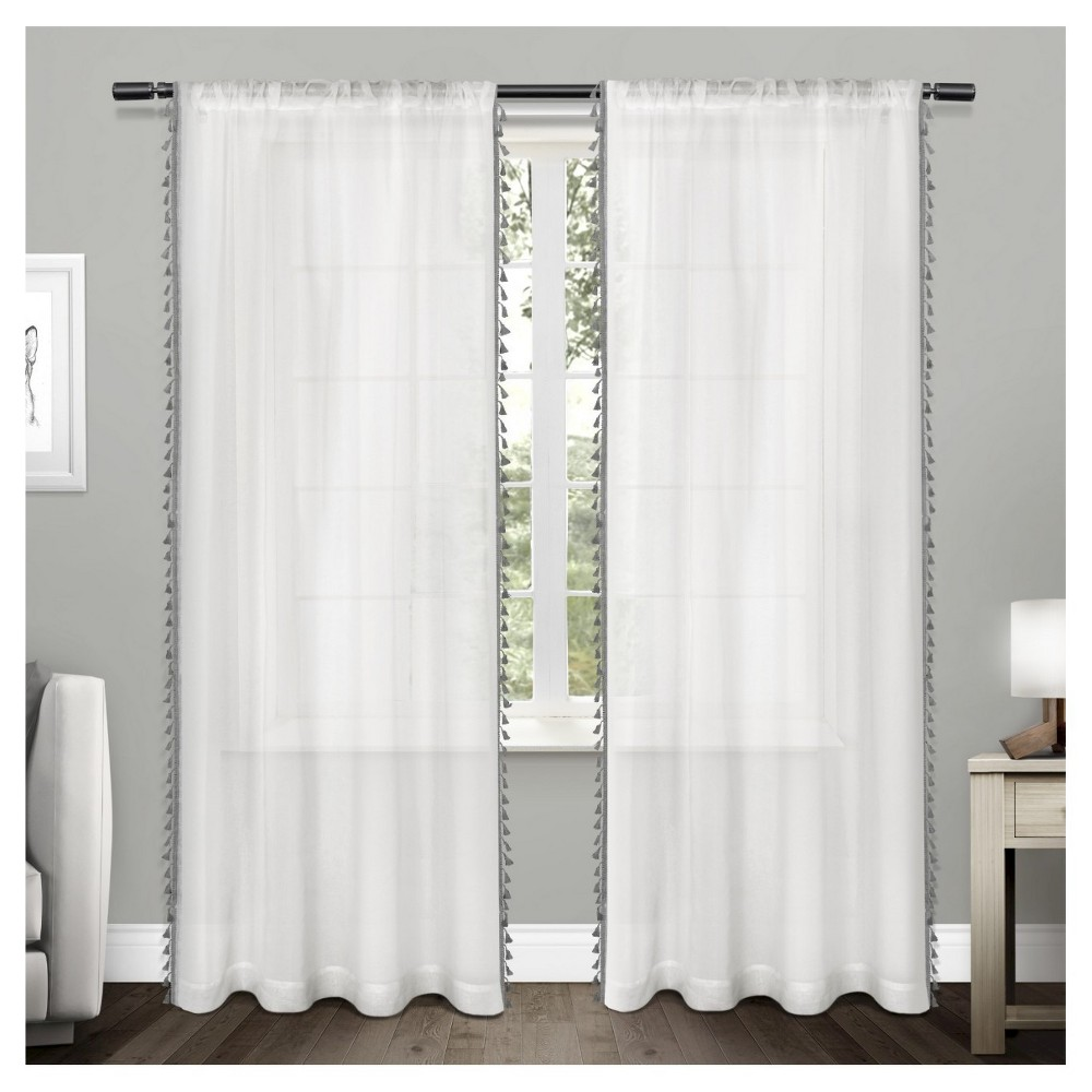 "Set of 2 63""x54"" Tassels Sheer Rod Pocket Window Curtain Panel Black - Exclusive Home from Exclusive Home"